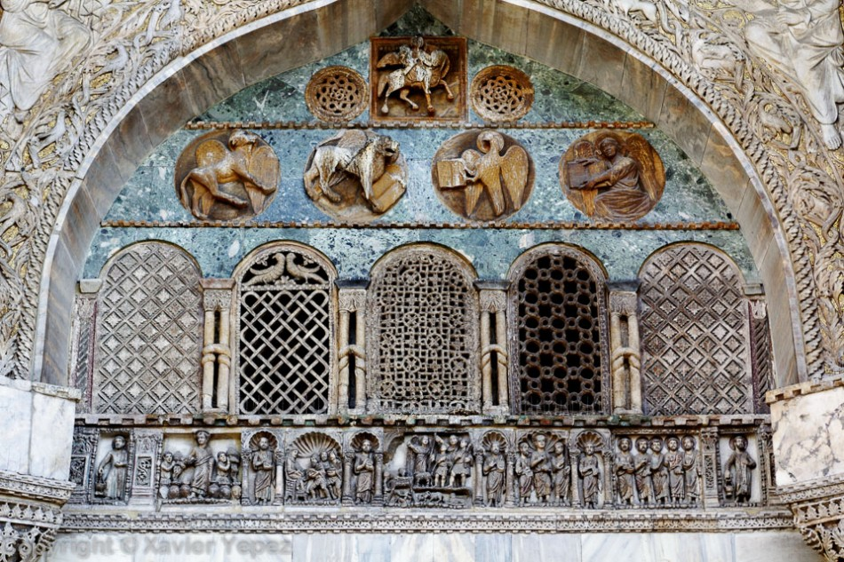 Windows on the right side of the San Marco cathedral in Venice, Italy