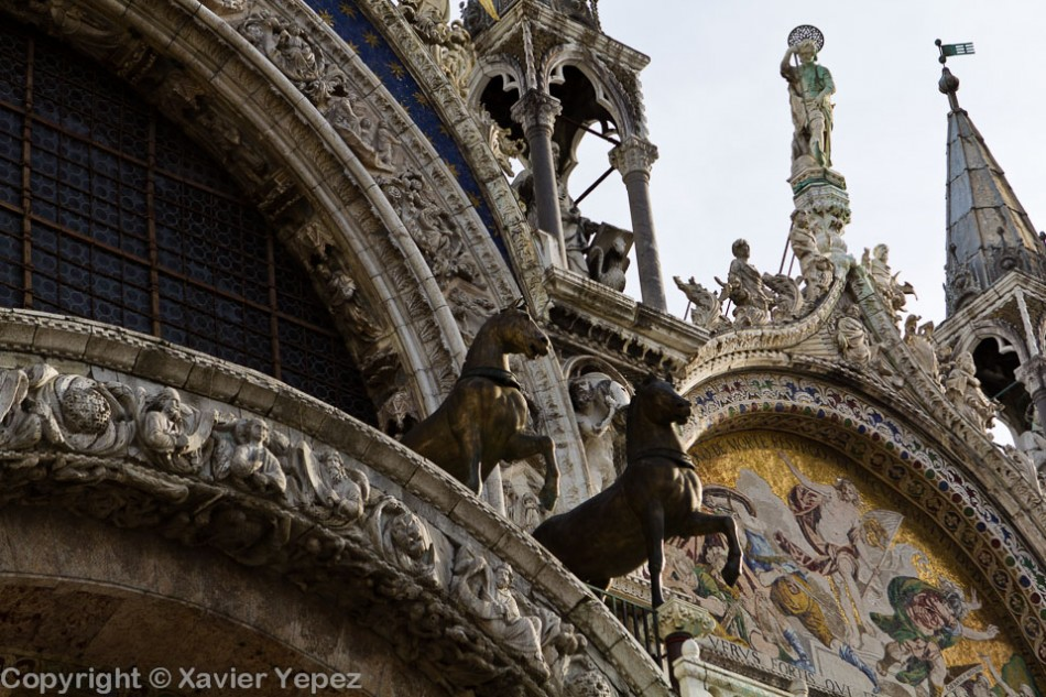 A look at the horses in front of the San Marco cathedral in Venice, Italy