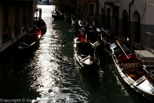 Silhouettes of gondolier and gondolas, Venice, Italy