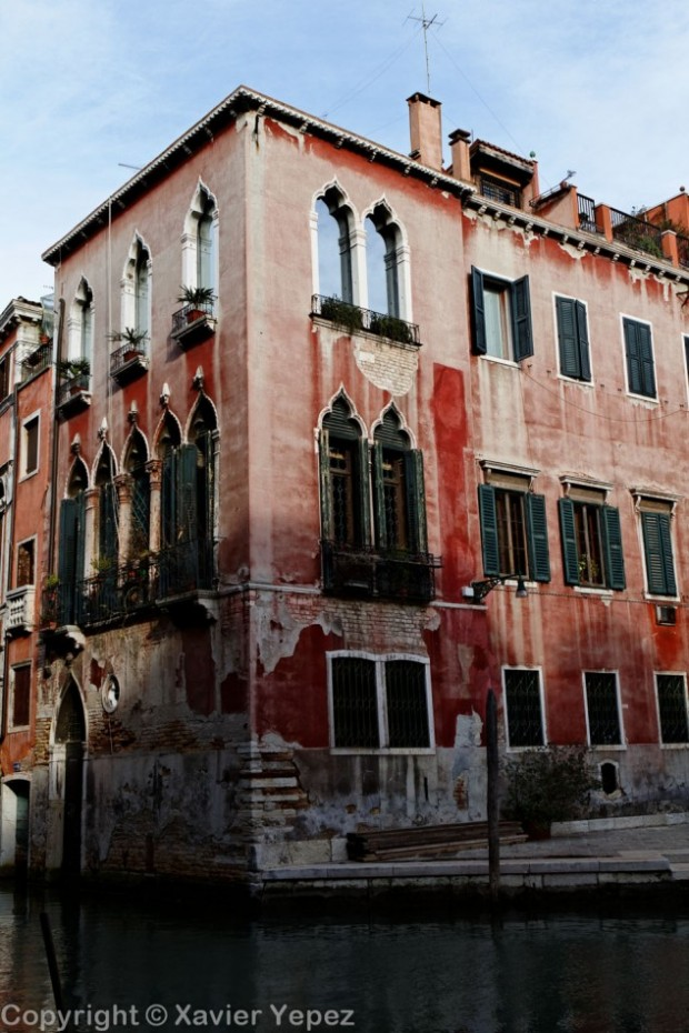 An old house with bright colors in Venice, Italy