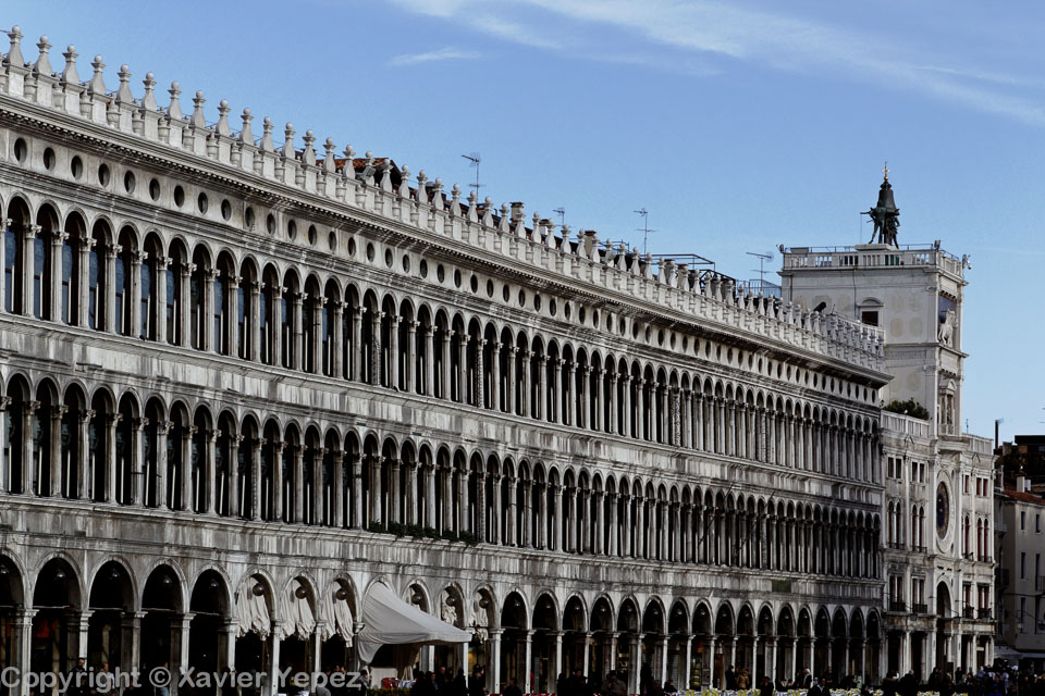 A view of the left facade when facing the San Marco cathedral in Venice, Italy