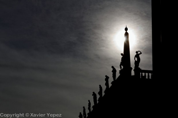 Silhouettes of sculptures in Piazza San Marco, Venice, Italy