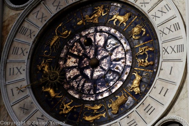 Detail of the clock on the left side of Piazza San Marco, Venice, Italy