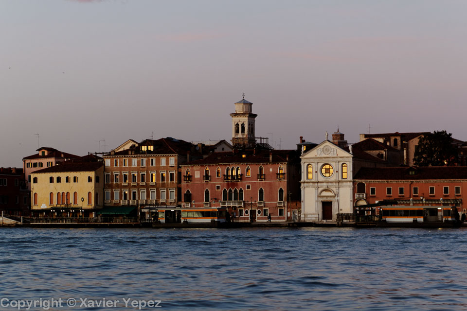A view to a water bus stop (vaporetto stop) in Venice, Italy