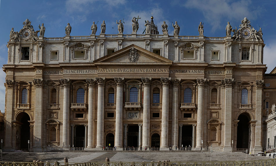 A panoramic of The Vatican basilica, from the Piazza Pio XII.